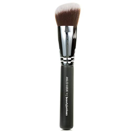 Angled Kabuki Blush Makeup Brush: Soft Synthetic Bristles for Applying Blusher Bronzer Contour Highlighter Foundation, Flawless Sculpting, Blending, Buffing Powder, Liquid, Cream, Mineral Cruelty Free