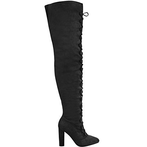 Mode Soif Femmes Cuisse Bottes Hautes Lace Up Bloc Talons Hiver Chaussures Taille Noir Faux Daim