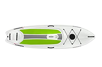 SUNDOLPHIN Sun Dolphin Seaquest Stand Up Paddleboard (White/Lime Pads, 10-Feet) with Paddle