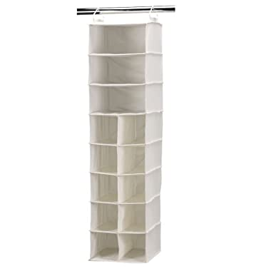 Household Essentials 10 Pocket Hanging Shoe Storage Organizer and 3 Shelf Sweater Organizer, Natural Canvas