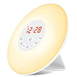 Wake Up Light, Alarm Clock Sunrise Simulation & Sleep Aid Feature, Bedside Night Light with FM Radio, 6 Nature Sounds, Touch Control and Snooze for Kids Adults Bedrooms(6638-Sunrise Alarm Clock)