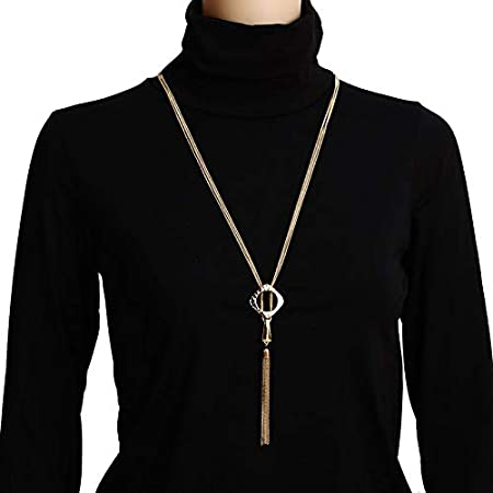 Davitu Hot Fashion Metal Alloy Long Chain Multilayer Tassel Necklace Pendants Collier Collares Lady Charm Necklaces Jewelry 2018 Metal Color: Gold