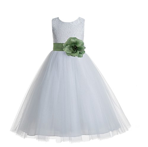 ekidsbridal Floral Lace Heart Cutout White Flower Girl Dresses Clover Green First Communion Dress Baptism Dresses 172T 2]()