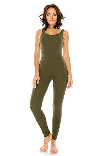 The Classic Women's Stretch Cotton Sleeveless One Piece Unitard Jumpsuit Playsuit (Medium, Olive)
