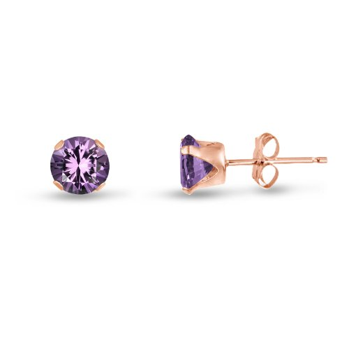 Round 4mm Rose Gold Plated Sterling Silver Genuine Amethyst Stud Earrings, Free Gift Box included
