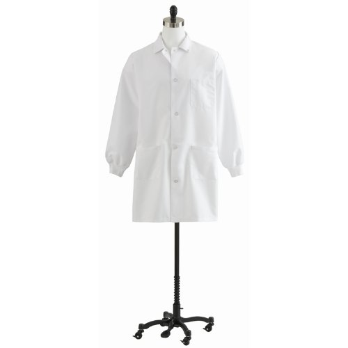 - Medline 87050QHWS Unisex Knit Cuff Staff Length Lab Coat, Small, White