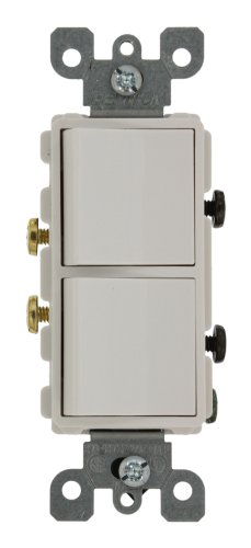 Leviton 5627-W 20 Amp, 120/277 Volt, Decora Single-Pole / Single-Pole AC Combination Switch, Commercial Grade, Grounding, White