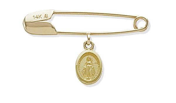 14k Gold Miraculous Medal Baptismal Brooch 14k Gold Baptismal Pin Baptism Gift Religious Medals Catholic Confirmation Baptism Brooch