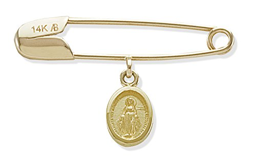 Baby and Toddler Jewelry-14KY Gold Miraculous Medal on Baptismal Pin for Baby by BOS Jewelers, Inc.