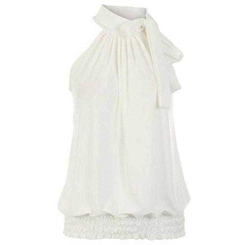 LIREROJE Womens Halter Neck Blouse Sleeveless Sheering Bow Tie Top White XL (Halter White Apparel)