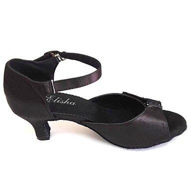 XIAMUO Angepasste Frauen Latein Sandalen angepasste Heel Satin Schuhe mehr Farben, Schwarz, US 9 / EU 40/UK7/CN41