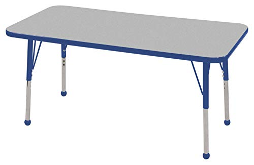 "ECR4Kids Mesa Everyday 24"" x 48"" Rectangular School Activity Table, Standard Legs w/ Ball Glides, Adjustable Height 19-30 inch (Grey/Blue)"