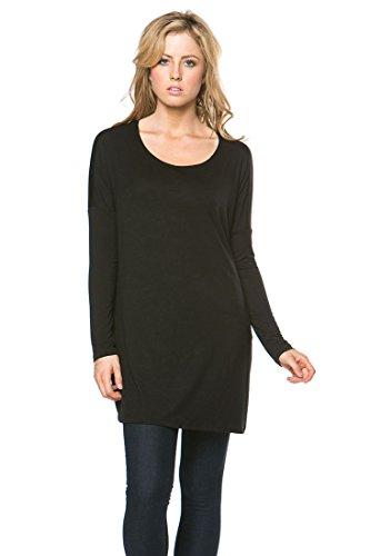Women's Long Sleeve Bamboo Top Loose Fit Tunic (Medium, BLACK) ()