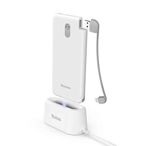 Yoobao Portable Charger 10000mAh Power Bank Powerbank Cell Phone External Battery Pack Backup Charger with USB Charging Dock Compatible Smartphone Cellphone Tablets - White