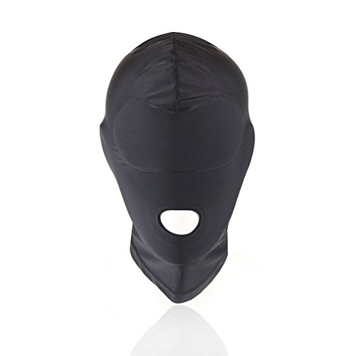 HOT TIME Black Breathable Face Cover Spandex Zentai Costume Hood Mask Padded Blindfold (open mouth)