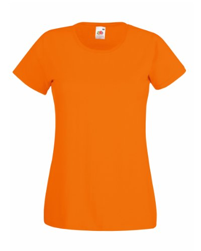 Fruit Of The Loom Damen Lady-Fit Valueweight T-Shirt-Kostenlose Lieferung-KOSTENLOSE LIEFERUNG S,Orange