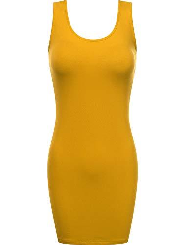 Fifth Parallel Threads FPT Women's Scoop Neck Bodycon Mini Tank Tunic Dress Mustard ()