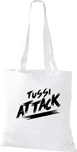 ShirtInStyle Bolsa de tela Bolsa de algodón Tussi Ataque - fucsia, 38 cm x 42 cm Blanco