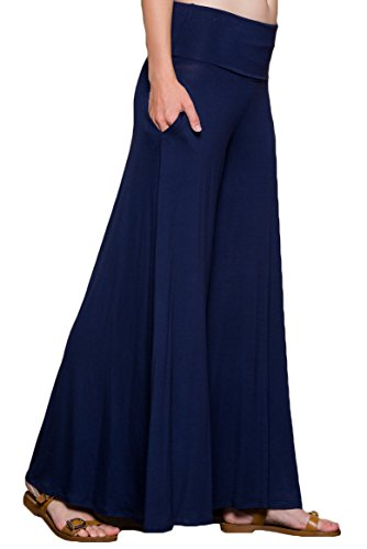 Women's Plus Size Comfy Lounge Pants with Side Pockets Blue Navy