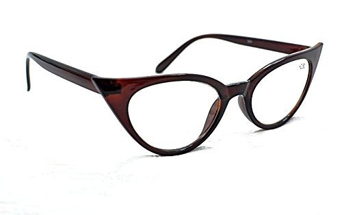 695dd03b6553 MT57 Retro 1950s 1960s Cat Eye Vintage Fashion Reading Glasses with Metal  Hinges+1.0+1.5+2.0+2.5 Choice of 5 Colours (Brown