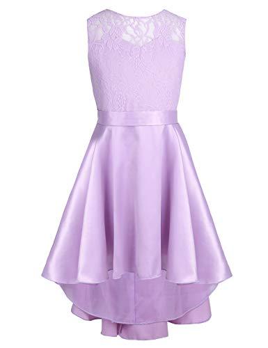 Cheap Lavender Flower Girl Dresses (CHICTRY Kids Girl's High-Low Hem Princess V Back Lace Wedding Pageant Party Flower Girl Dress Lavender)