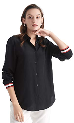 Button Shirt Silk Front - Lilyilk Casual Silk Top Shirts Womens Rib Cuffing Elastic Band Cuff Raw Silk Shirts Buttons Front Black L/12
