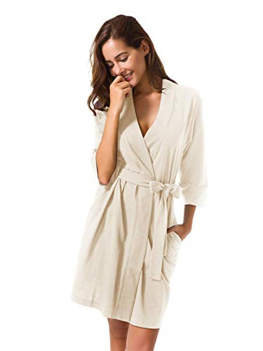SIORO Women's Kimono Robes Cotton Lightweight Bath Robe Knit Bathrobe Soft Sleepwear V-Neck Ladies Nightwear,Ivory S