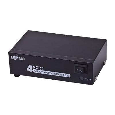 Findway 4 Port 1 In 4 Out 3 RCA AV Audio Video Splitter Amplifier for Cable Box DVD DVR Analog TV