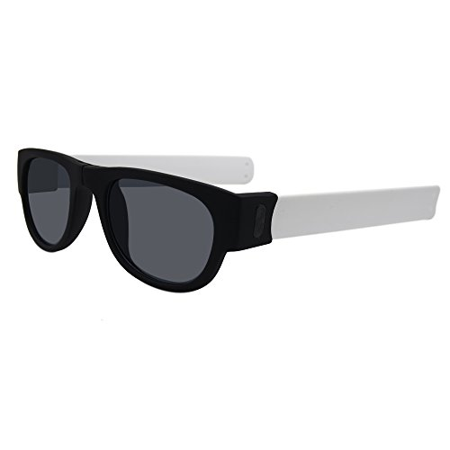 Slap on Folding Stay on Sunglasses. Wrap Around Sunglasses for Active People, Driving, and Action Sports (White, - Snap Sunglasses On