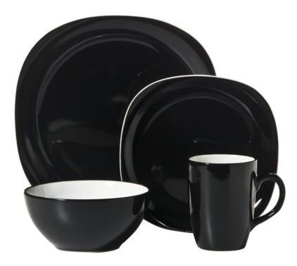 Thomson Pottery Duo Quadro Black 16 pc Dinnerware Set Servic