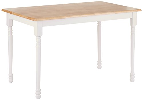 Coaster Home Furnishings Damen Butcher Block Farm Table - Product Dimensions: Width: 30  x  Depth: 48  x  Height: 29 Material Solid Wood Warm Natural wood finish, or two tone Natural and White wood finish. - kitchen-dining-room-furniture, kitchen-dining-room, kitchen-dining-room-tables - 314P5jyCm L -