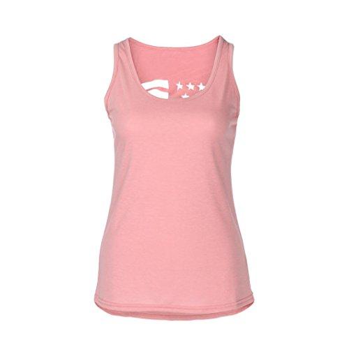 Limsea Women Sleeveless O-Neck American Flag Printed Vest Tops Loose T-Shirt Blouse ()