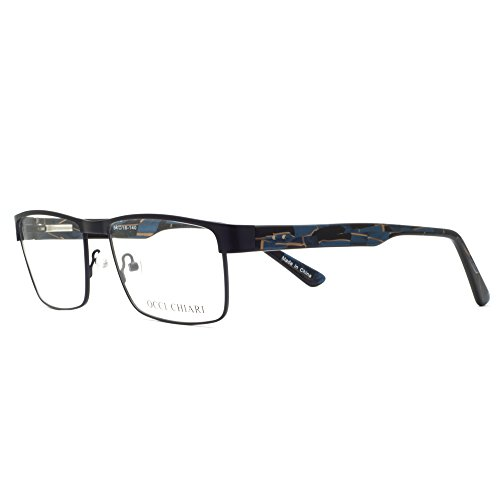 metal marco de los de gafas hombres gafas los prescripción Azul OCCI marco de claras Gafas hombre flexible lentes y con para óptico Marco primavera rectangular de bisagra estilo CHIARI OIzqC6