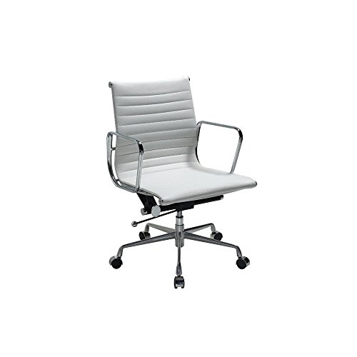 Contemporary Office Collection (Manhattan Comfort Delancey Collection Contemporary Adjustable Seating with Ribbed Pattern Swivel Office Chair, White)