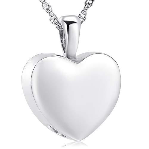 shajwo Collar de urna de corazón de cremación, joyería de cenizas para mujeres y hombres, colgante de recuerdo…