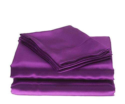 Silk Satin Sheets Set | Silk Satin Sheets Set King | King Sheets Set Purple | Silk Fitted Sheet 18 Inch Deep Pocket | 4 Pc Sheet Set | Silk -