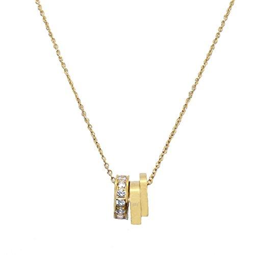 18k Gold Loop (Baoli Women's 18k Gold 3 Love Loop CNC Diamond Setting Pendant Necklace (yellow gold))