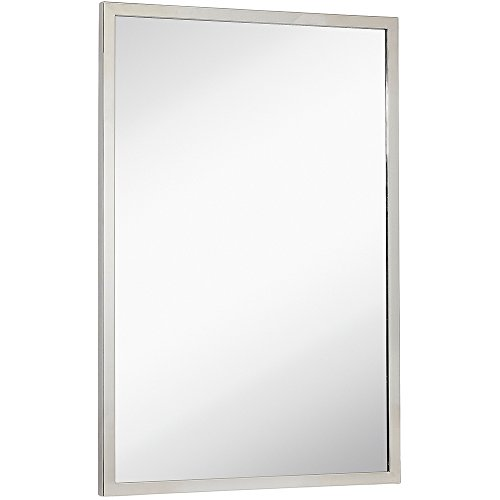 Commercial Grade Contemporary Industrial Strength Wall Mirror | Polished Stainless Metal Silver Rectangle with Mirrored Glass | Vanity, Entrance, Bedroom, or Restroom Horizontal & Vertical (24
