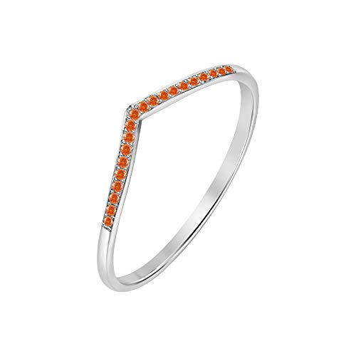 RUDRAFASHION .925 Sterling Silver 0.25ctw Orange Sapphire 14K White Gold Plated Curved Stackable Half Eternity Wedding Band Ring for Womens