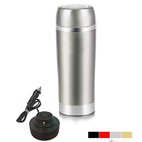 WJX Stainless Steel car Cup, 12V/24V Constant Temperature Kettle Electric Cup, Multi-Function Outdoor Travel Heating Mug (350ML),Silver,24V