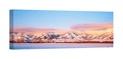Easy Art Prints Panoramic Images's 'Snow Covered Mountains, Bridger Mountains, Rocky Mountains, Bozeman, Gallatin County, Montana, USA' Premium Canvas Art - 36