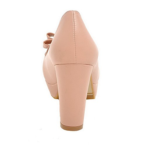 High WeiPoot Pumps Solid Shoes Pink Round Pull Heels On Women's PU Toe ZqTr6q5a