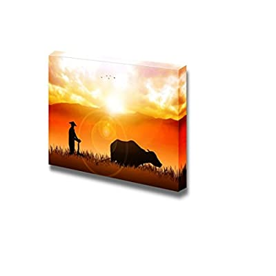 Canvas Prints Wall Art - Illustration of a Farmer Plowing The Fields - 24