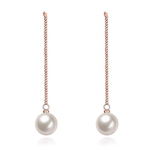 Simple Long Tassel Pearl Dangle Earring Chain Earring For Women Girl Rose Gold Plated Christmas Gift