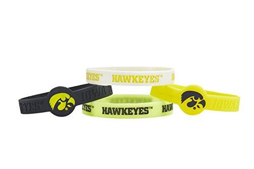 aminco NCAA Iowa Hawkeyes Silicone Bracelets (4 Pack), Multicolor
