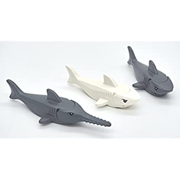 LEGO Shark and Sawfish Combo Pack with Gills and Printed Eyes (1x Dark Gray Sawfish, 1x White Shark, 1x Dark Gray Shark)
