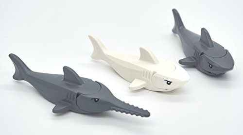 LEGO Shark and Sawfish Combo Pack with Gills and Printed Eyes (1x Dark Gray Sawfish, 1x White Shark, 1x Dark Gray Shark)