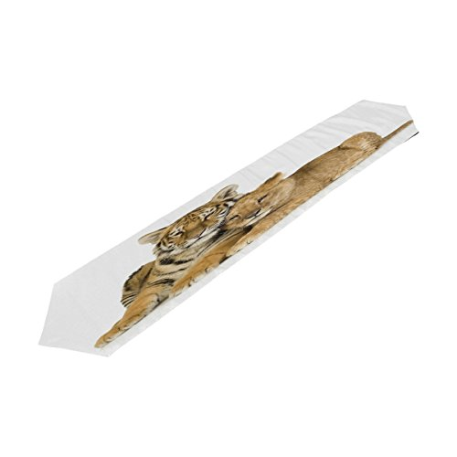 WDYSECRET Two Tigers 100% Polyester Table Runner Table Top Decoration Home Decor(13x90(in))