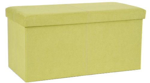 FHE Group Microsuede Folding Storage Ottoman Bench, 30 by 15 by 15 Inches, Green