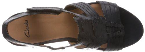 Clarks Popple Tango 203580524 - Sandalias de cuero para mujer, color morado, talla 35.5 Morado (Violett (Black Leather))